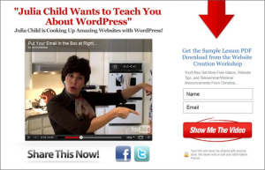 Opt in page Julia Child fake