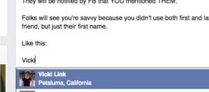 Facebook Vicki Link Name eg