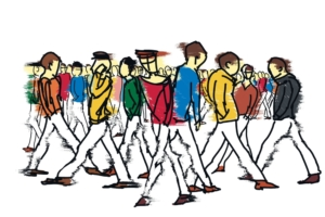 Cartooon crowd on street shutterstock_364049321