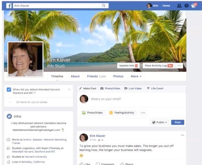 Facebook Profile Marketing - Kim Klaver Example