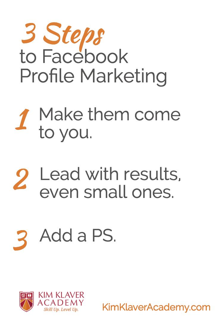 Facebook Profile Marketing 3 Steps